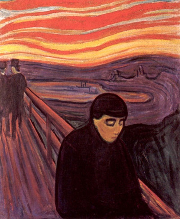 Painting called 'Despair' by Edward Munch in 1894 illustrative of mental health depicted in art.
