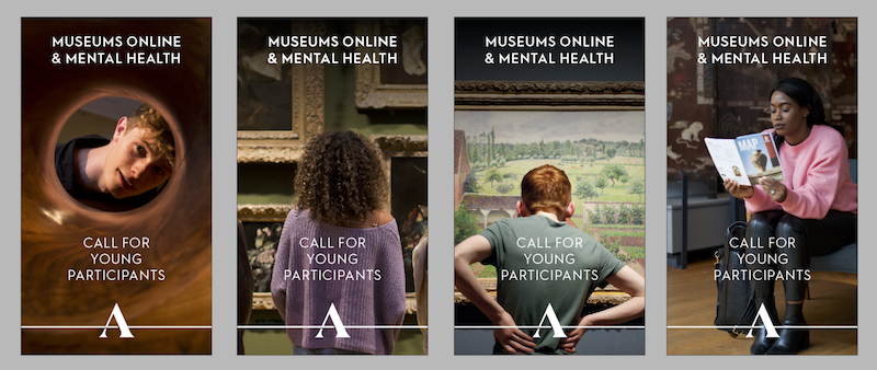 Selection of adverts showing young people in the Ashmolean Museum.