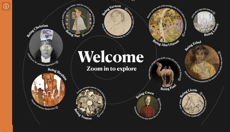 Screenshot of Ways of Being main menu with circular, image-based menu.