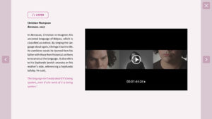 Screenshot of a webpage on Australian artist Christian Thompson showing text, audio and video content options.