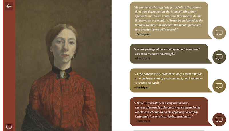 Screenshot showing an image of artist Gewn John and a selection of comments next to it.