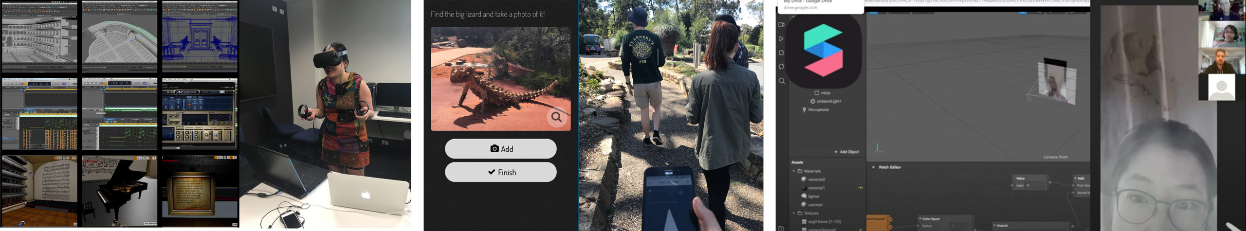 Photos and screen captures of XR projects showing student testing VR, screengrabs of a virtual concert hall, students testing an AR app in the botanical gardens and an instagram app showing selfies with ghosts inserted into them