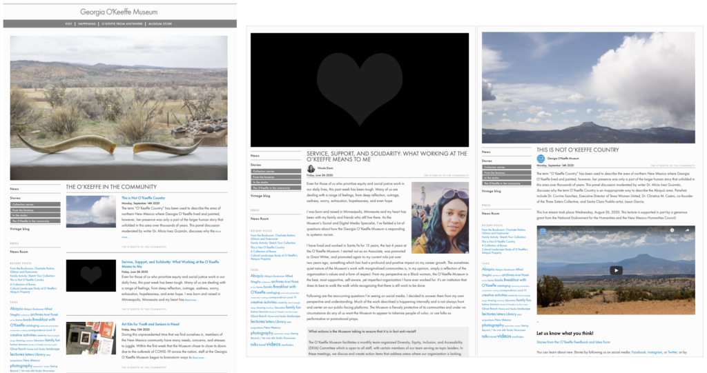 Website pages showing community engagement posts and blogs