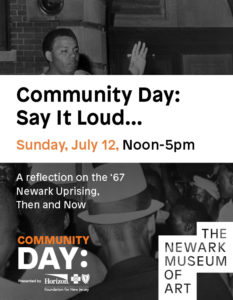 Promotional flyer for Community Day: Say It Loud... a black and white photograph showing someone address a group of people