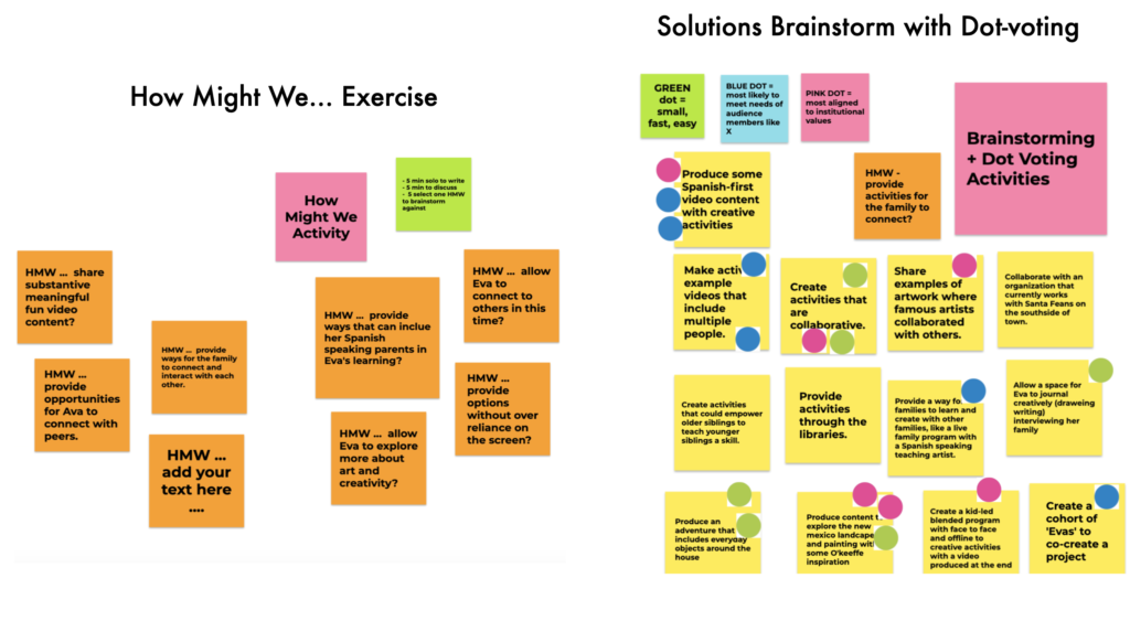 Examples of a virtual brainstorming session, a series of squares with notes in them and colored dots where people have voted for their favorite ideas