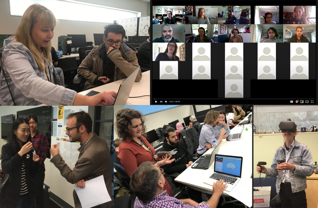 Five photos of students from the project classes, students in discussion and testing projects on websites and VR headsets. One photo shows a class on zoom.