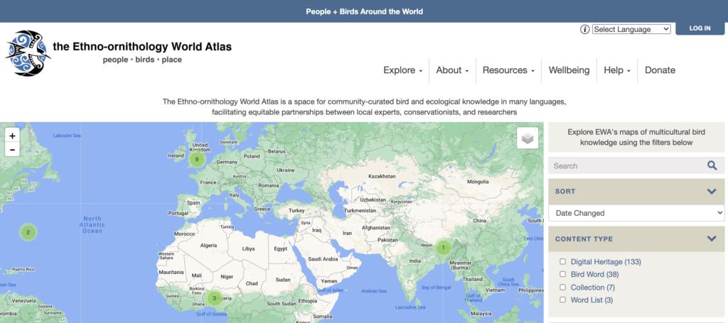 Ethno-ornithology World Atlas (EWA) Screenshot
