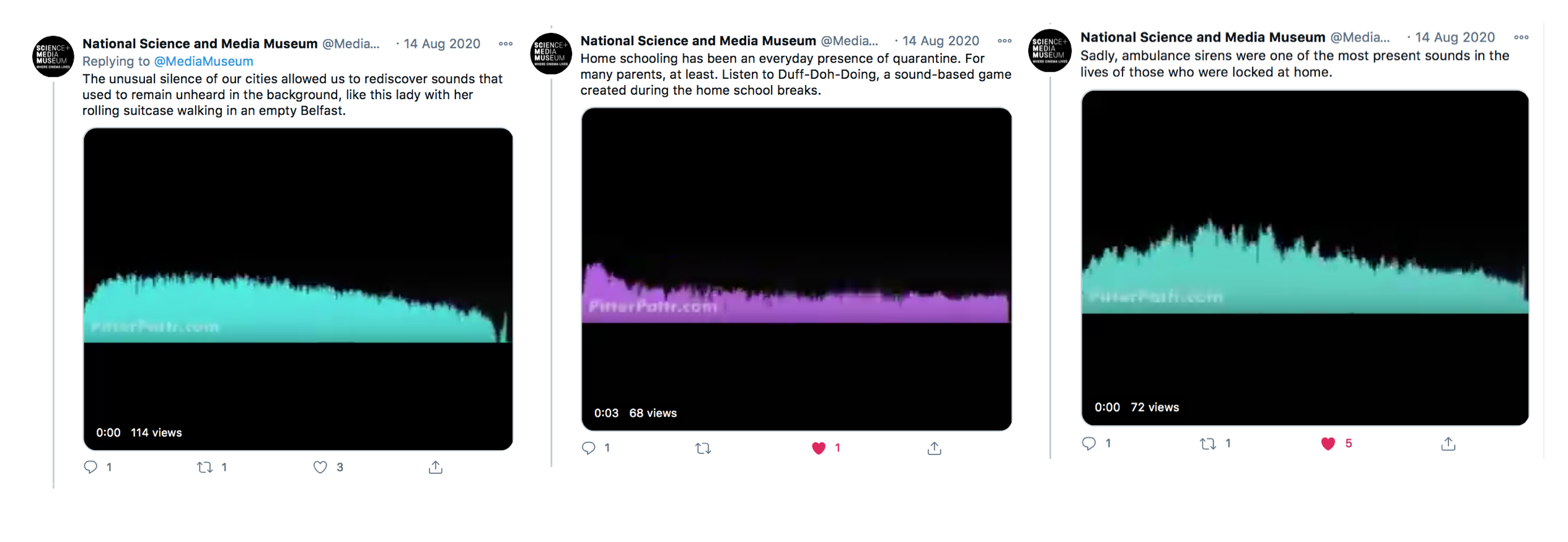 An excerpt from the Twitter thread dedicated to the sounds of quarantine, including audio clips created with the Pitter Pattr app