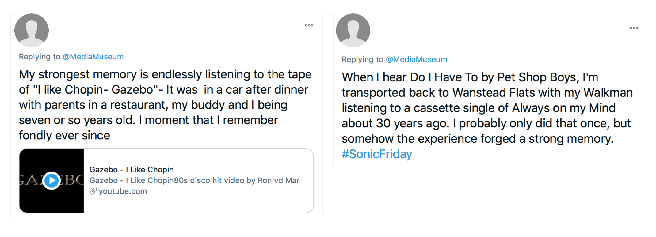 Two Twitter users sharing their musical memories on cassettes