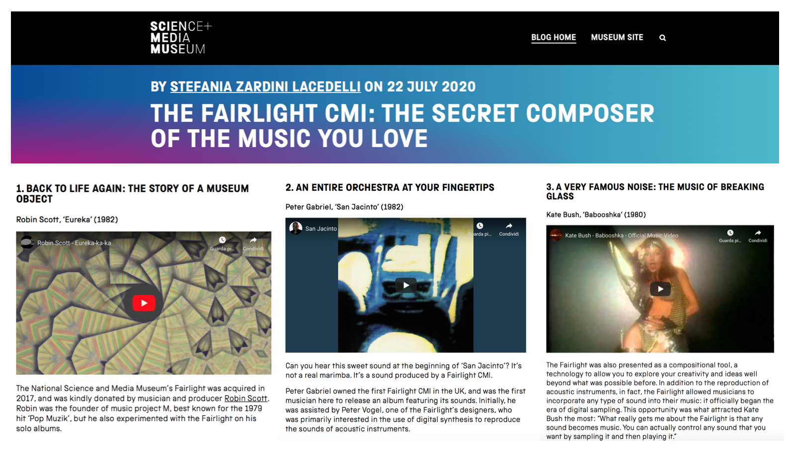 The playlist dedicated to Fairlight synthesiser on the Science and Media Museum blog