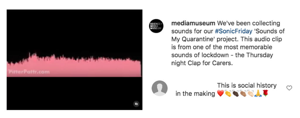 An audio clip shared on the Instagram National Science and Media Museum's profile using the Pitter Pattr app