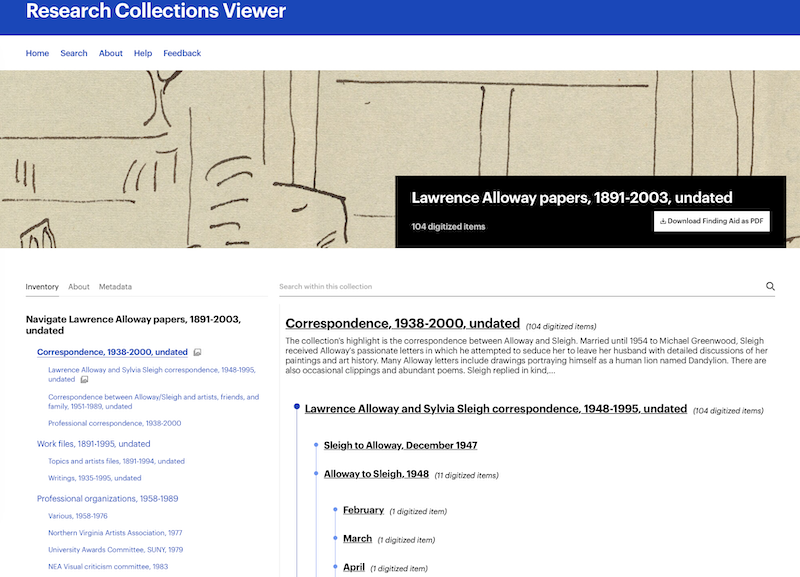 Figure 6: The Lawrence Alloway Collection in RCV