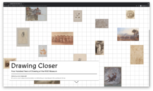 Landing Page for the Drawing Closer publication; several drawings laid out on a grid