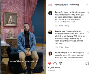 Instagram comments that say how moving an episode featuring Dariel Vasquez, a young black man who is seen seated in a museum gallery talking