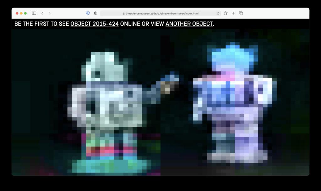 Screenshot of Never Been Seen website