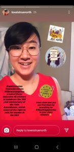 Image of young woman's selfie with an Instagram sticker shaped as a suffrage pin on her shirt