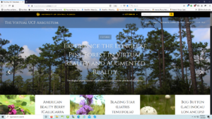 Figure 3. Shows the main page of The Virtual UCF Arboretum as an interactive plant field guide website