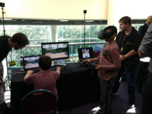 Figure 8. The Virtual UCF Arboretum in HTC-Vive VR headsets demonstration at the Orlando Science Center Otronicon Events.