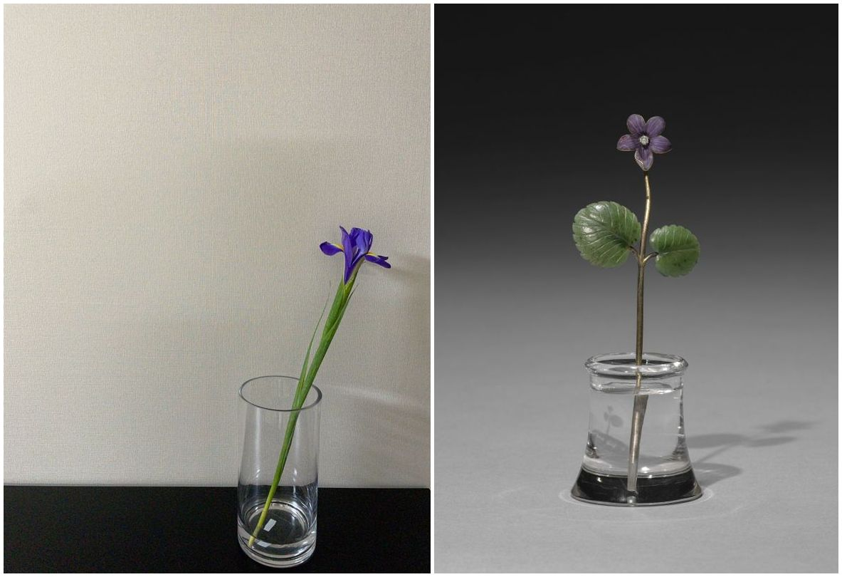 comparison of flower and artwork