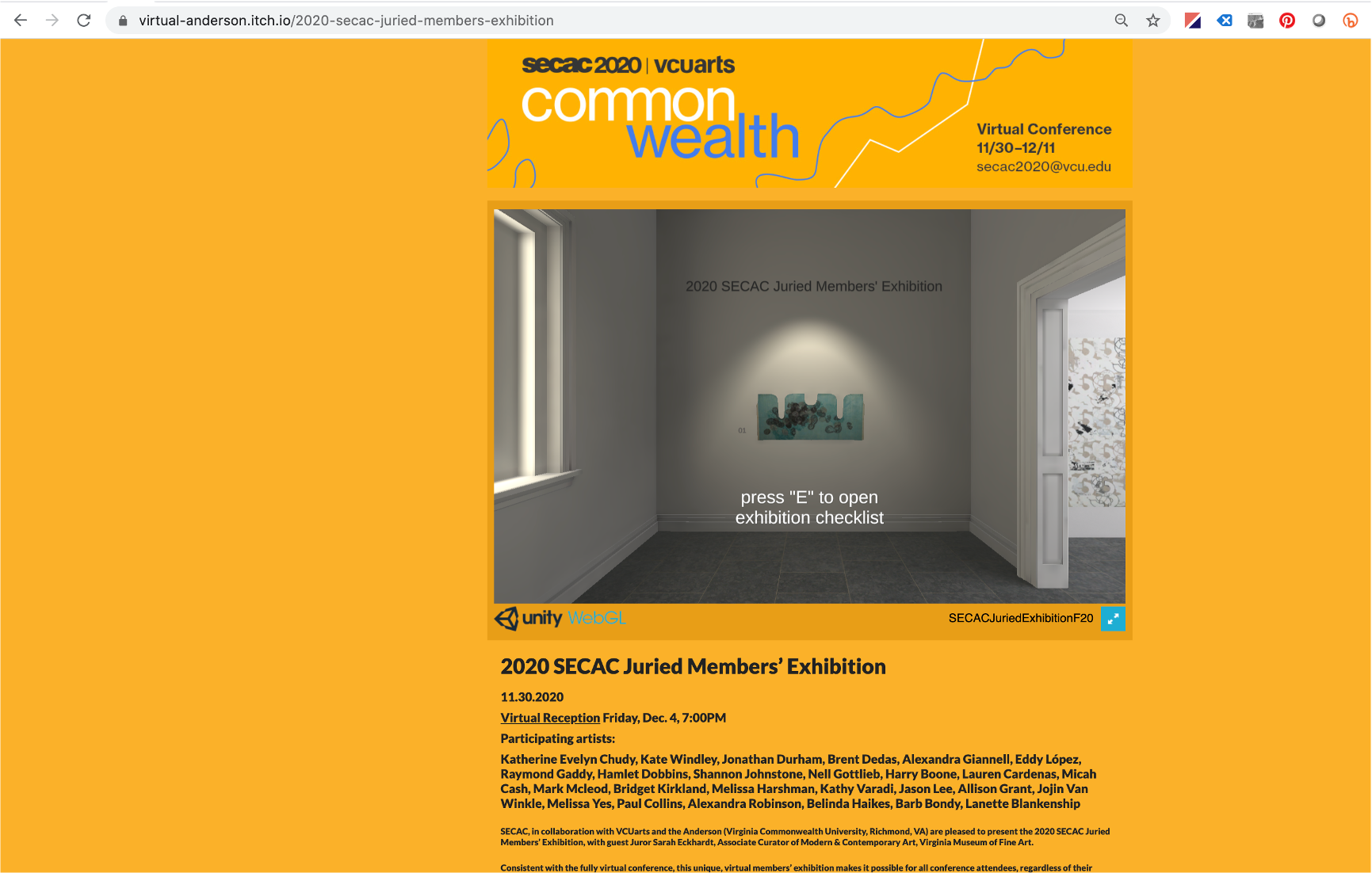 SECAC's 2020 Juried Members' Exhibition launch site in the Virtual Anderson using the Unity Game Design Engine