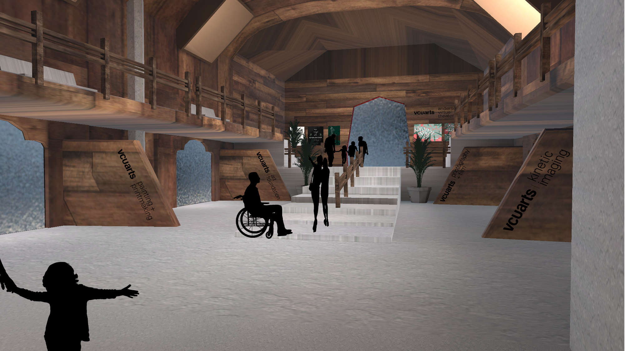 The main hall of the Virtual Anderson 2020 BFA Senior Capstone with Gallery and Theater doors and labels as well as black silhouettes of a variety of figures.
