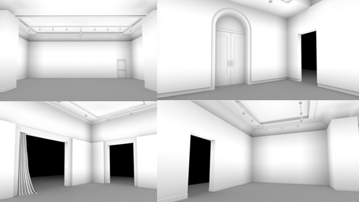 Four different views of the virtual replications of thenwhite galleries of the Anderson.