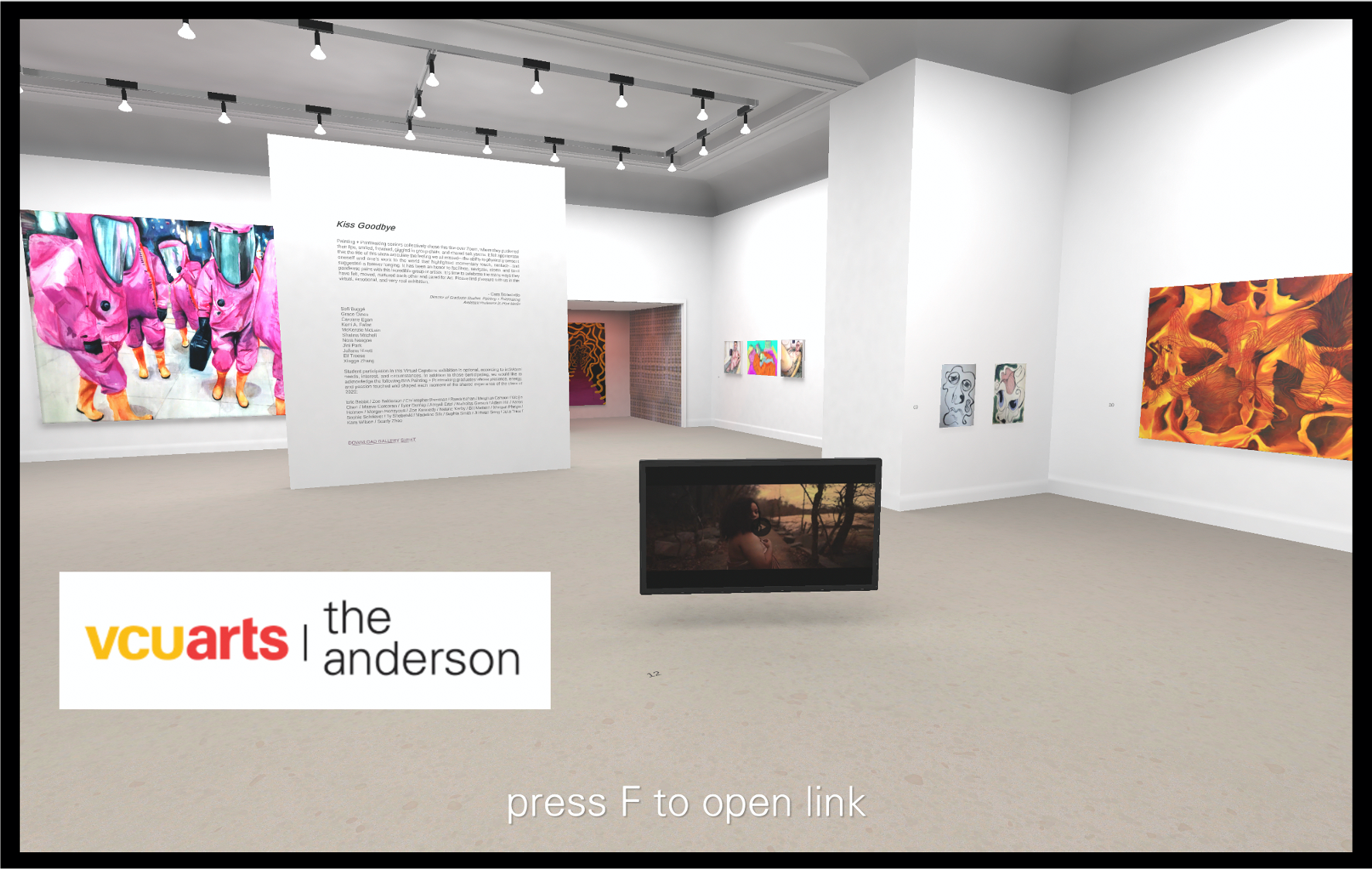 iew of the Painting + Printmaking Gallery from the 2020 BFA Capstone Exhibition at the Virtual Anderson. There are white walls and a series of objects hung on the wall and standing on the floor.