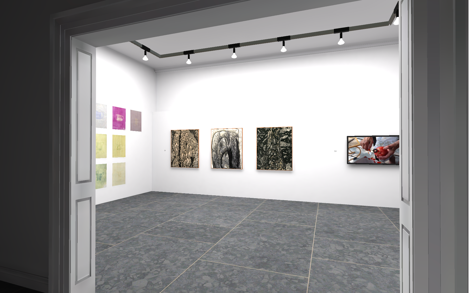 View through the doorway of the Photo + Film Gallery 2 from the 2020 BFA Capstone Exhibition at the Virtual Anderson