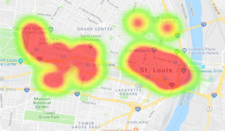 Heat map shows four major areas of development around downtown (near the Arch) in midtown and two small areas in Old North St. Louis.