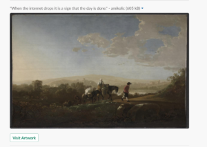 image of a landscape painting embedded in a slack message