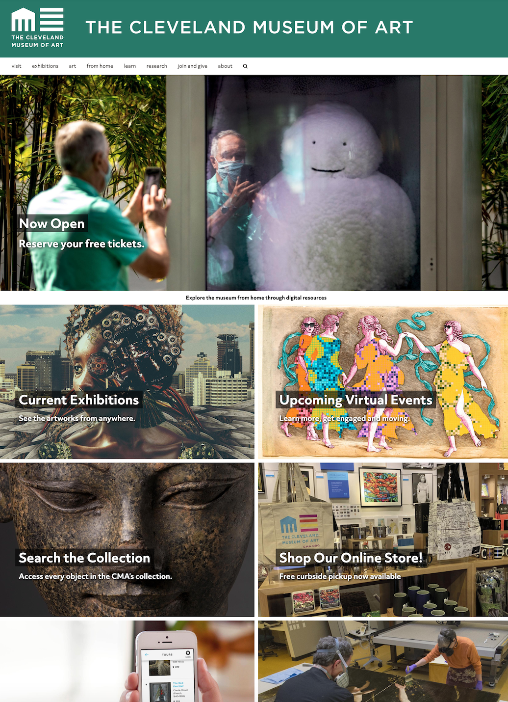 screen capture of a museum webpage
