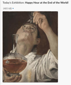 a slack message, showing a painting of someone drinking