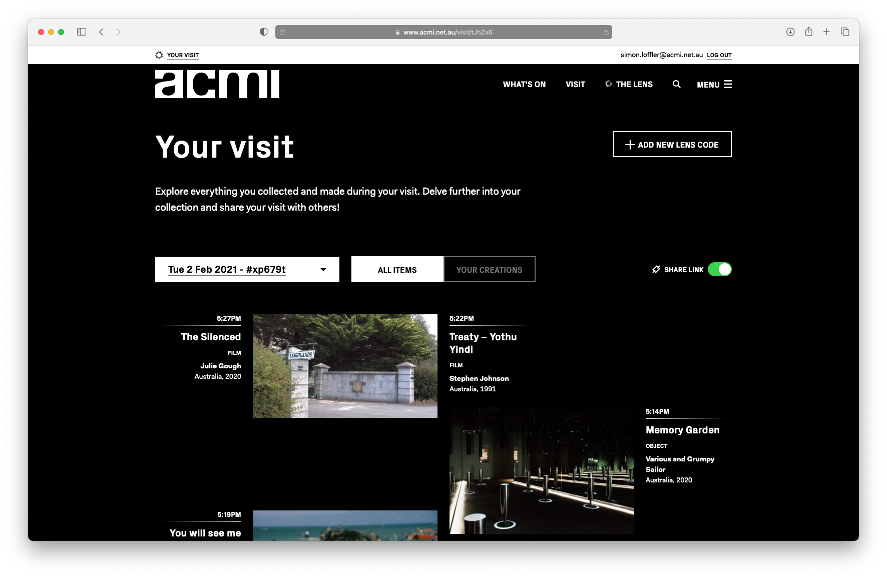 A screenshot of the ACMI post-visit website, showing your personal museum visit and everything you collected.