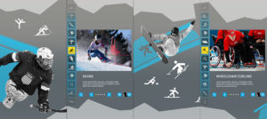 An interactive screen design, composited across four portrait screen areas, displaying the user interface for exploration of Olympic and Paralympic content.