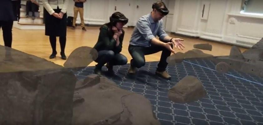person kneeling in AR environment