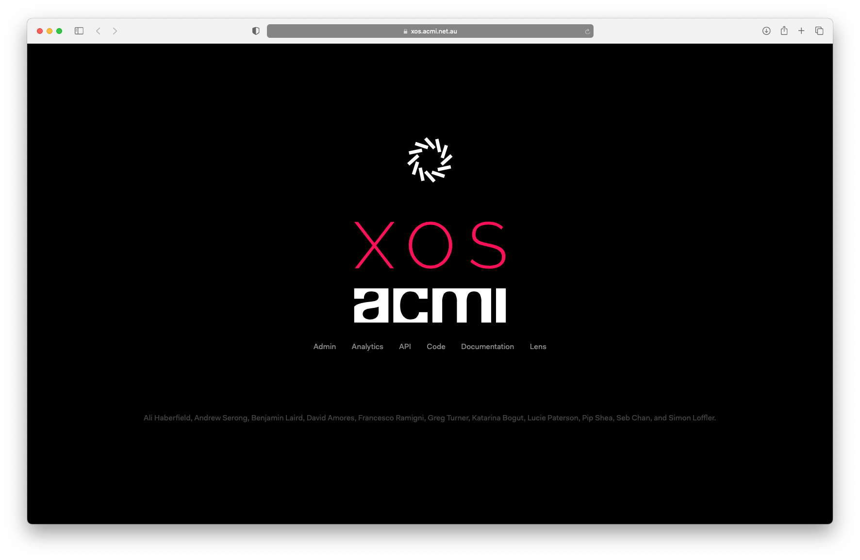 A screenshot of the homepage of XOS, ACMI's museum experience operating system.